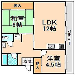兵庫県伊丹市野間2丁目の賃貸マンションの間取り