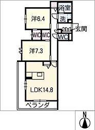 ワイズ 2階2SLDKの間取り