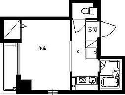 ドミールシャルマン 2階1Kの間取り