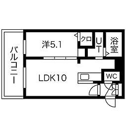 札幌市営南北線 中島公園駅 徒歩13分の賃貸マンション 3階1LDKの間取り