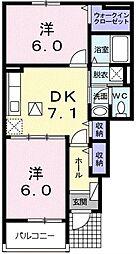 埼玉県川口市安行出羽1丁目の賃貸アパートの間取り