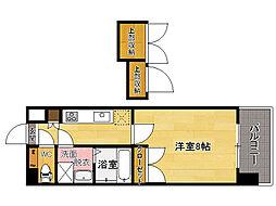 西鉄貝塚線 香椎宮前駅 徒歩1分の賃貸マンション 5階1Kの間取り