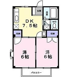 メイゾンカルム 1階2DKの間取り