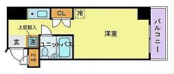 JR中央本線 国分寺駅 徒歩3分の賃貸マンション 6階ワンルームの間取り