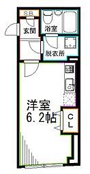 西武新宿線 井荻駅 徒歩7分の賃貸マンション 5階ワンルームの間取り