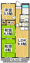 ドリーム萩天 3階3DKの間取り