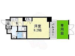 ディームス江坂 1階1Kの間取り