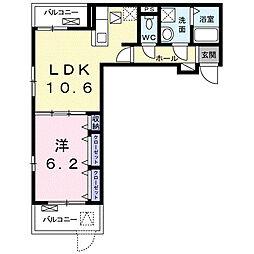 名古屋市営名城線 茶屋ヶ坂駅 徒歩14分の賃貸アパート 1階1LDKの間取り