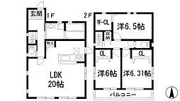 [一戸建] 兵庫県宝塚市御殿山2丁目 の賃貸【/】の間取り