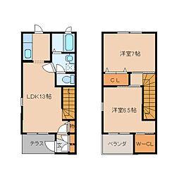 [テラスハウス] 奈良県香芝市逢坂7丁目 の賃貸【/】の間取り