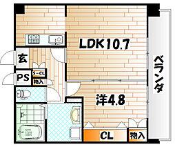 フェリシエ京町[5階]の間取り