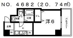 ブリリアントコート西田辺[605号室号室]の間取り