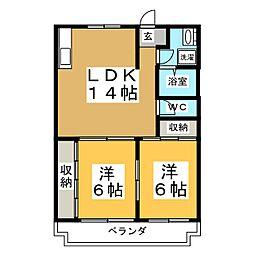 コーポ川嶋[3階]の間取り