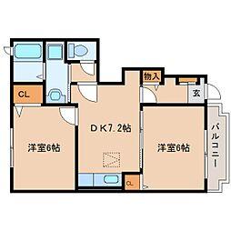 静岡県静岡市葵区沓谷の賃貸アパートの間取り
