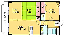 ホウシュウコ−ポ篠栗六番館[5階]の間取り