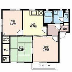 長野県長野市稲田 2丁目の賃貸アパートの間取り