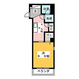 仮称 大喜新町2丁目共同住宅 3階1DKの間取り