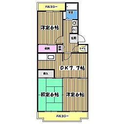 東京都あきる野市小川東1丁目の賃貸マンションの間取り
