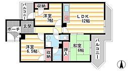 兵庫県神戸市垂水区桃山台4丁目の賃貸アパートの間取り