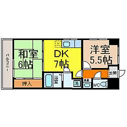 松原メイトマンション[303号室]の間取り