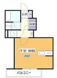 JR中央本線 東小金井駅 徒歩2分の賃貸アパート 2階ワンルームの間取り