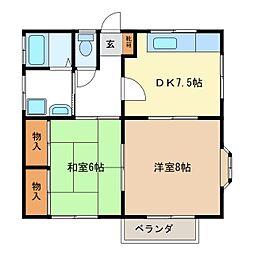 ロイヤルハイツB棟[1階]の間取り