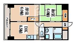 ボヌールヴィラ中百舌鳥[7階]の間取り