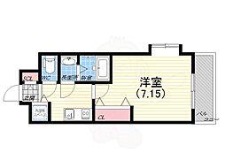 阪神本線 青木駅 徒歩1分の賃貸マンション 4階1Kの間取り