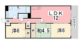 兵庫県姫路市飾磨区今在家4丁目の賃貸マンションの間取り