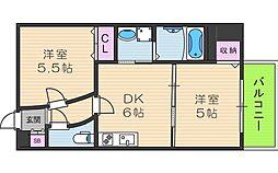 アリスマナーガーデン四天王寺[6階]の間取り
