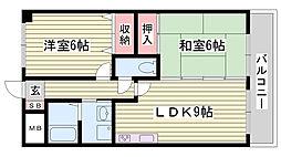 JR播但線 野里駅 バス10分 竹ヶ端下車 徒歩1分の賃貸マンション 3階2LDKの間取り