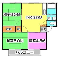 バードタウン1号棟[2階]の間取り