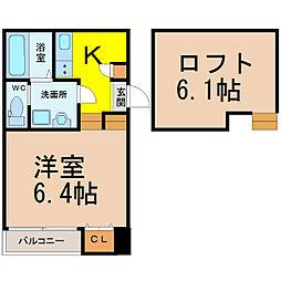 愛知県名古屋市北区杉栄町3丁目の賃貸アパートの間取り