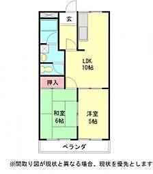 愛知県江南市尾崎町上田の賃貸アパートの間取り