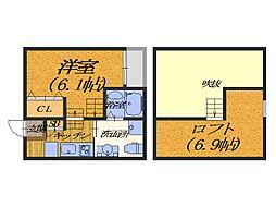 大阪府堺市堺区東湊町5丁の賃貸アパートの間取り
