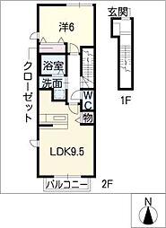 フォンテーヌ A棟[2階]の間取り