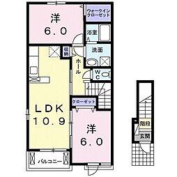 JR宇野線 備前田井駅 徒歩7分の賃貸アパート 2階2LDKの間取り