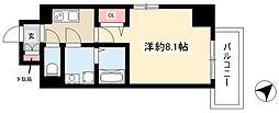 エスリード名古屋東別院 11階1Kの間取り