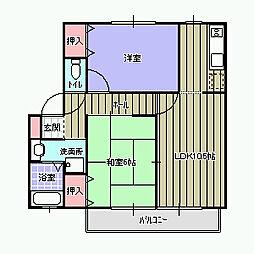 ウィンディアUWABARA[B102号室]の間取り