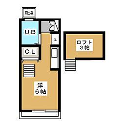 ポイム 2階ワンルームの間取り
