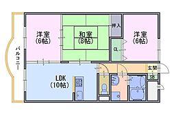 アネーロ長岡京[1階]の間取り