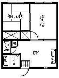 中島コーポ[105号室]の間取り