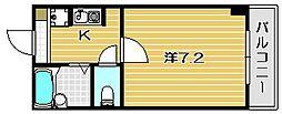 ウェルシーコート高槻[2階]の間取り