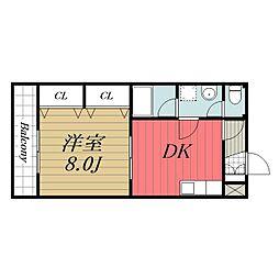 JR成田線 成田駅 徒歩20分の賃貸アパート 2階1DKの間取り
