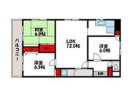 福岡県福岡市中央区小笹3丁目の賃貸マンションの間取り