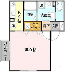 大阪府寝屋川市日之出町の賃貸アパートの間取り