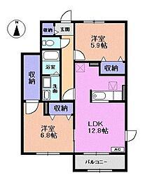 愛知県一宮市多加木5丁目の賃貸アパートの間取り