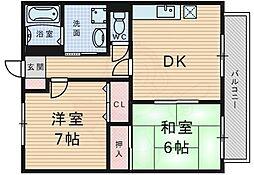 北大阪急行電鉄 桃山台駅 徒歩26分の賃貸アパート 2階2DKの間取り