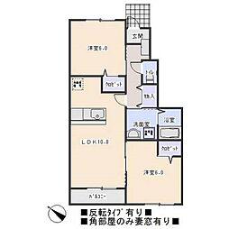 愛知県岡崎市大平町字大割の賃貸アパートの間取り