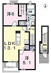 愛知県北名古屋市宇福寺天神丁目の賃貸アパートの間取り